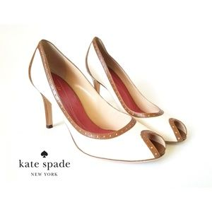 Kate Spade Giselle Canvas Leather Heels Pumps
